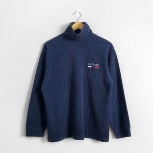 TOMMY HILFIGER Blue Ribbed y2k Mock Neck Sweater